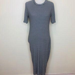 Aqua Black Striped Short Sleeve Maxi Dress